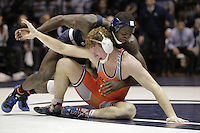 STATE COLLEGE, PA - FEBRUARY 16: Ed Ruth of the Penn State Nittany Lions during a 184 pound match against Nolan Boyd of the Oklahoma State Cowboys on February 16, 2014 at Rec Hall on the campus of Penn State University in State College, Pennsylvania. Penn State won 23-12. (Photo by Hunter Martin/Getty Images) *** Local Caption *** Ed Ruth;Nolan Boyd