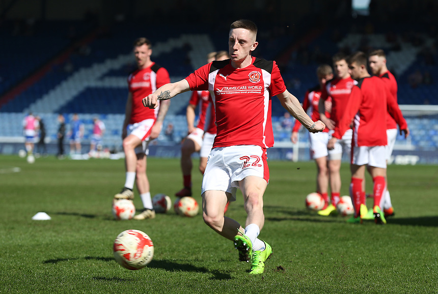 Fleetwood Town's Ashley Hunter during the pre-match warm-up <br /> <br /> Photographer Stephen White/CameraSport<br /> <br /> The EFL Sky Bet League One - Oldham Athletic v Fleetwood Town - Saturday 8th April 2017 - SportsDirect.com Park - Oldham<br /> <br /> World Copyright &copy; 2017 CameraSport. All rights reserved. 43 Linden Ave. Countesthorpe. Leicester. England. LE8 5PG - Tel: +44 (0) 116 277 4147 - admin@camerasport.com - www.camerasport.com