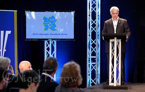 30 MAY 2012 - LONDON, GBR - Commentator Paul Bray announces  the start of the London 2012 Olympic Games Handball Draw at the National Sports Centre in Crystal Palace, Great Britain .(PHOTO (C) 2012 NIGEL FARROW)
