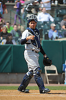 Trenton Thunder catcher Gary Sanchez (35) during game against the New Britain Rock Cats at New Britain Stadium on May 7 2014 in New Britain, CT.  Trenton defeated New Britain 6-4.  (Tomasso DeRosa/Four Seam Images)