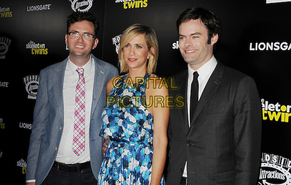 HOLLYWOOD, CA- SEPTEMBER 10: (L-R) Director Craig Johnson, actress Kristen Wiig and actor Bill Hader attend 'The Skeleton Twins' Los Angeles premiere held at the ArcLight Hollywood on September 10, 2014 in Hollywood, California.<br /> CAP/ROT/TM<br /> &copy;Tony Michaels/Roth Stock/Capital Pictures