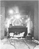 Head-on view of D&amp;RGW #487 in Chama engine house - night shot.<br /> D&amp;RGW  Chama, NM