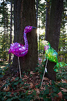 Purple & Green Bird Lanterns in Pine Forest, Burien, Washington State, WA, USA.
