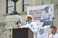 "Civil Rights icon James Meredith, 83, walks from the Smith Robertson museum in downtown Jackson MS. to the State Capitol to commemorate the 50th Anniversary of his historic Walk Against Fear in 1966. Meredith was shot on the second day of his walk in 1966 in Hernando MS and Dr. Martin Luther King and other major civil rights leaders of the time continued Meredith's March from Memphis to Jackson which ended at he State Capitol on June 26, 1966 with 15,000 marchers, the largest civil rights march ever in Mississippi.  The Smith Robertson Museum has an exhibit all about Meredith's March called ""Am I or Am I Not  A Citizen."" Photo©Suzi Altman"