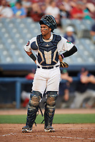 Connecticut Tigers catcher Moises Nunez (20) during a game against the Lowell Spinners on August 26, 2018 at Dodd Stadium in Norwich, Connecticut.  Connecticut defeated Lowell 11-3.  (Mike Janes/Four Seam Images)