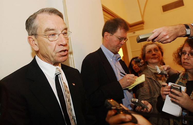 10/24/03.MEDICARE CONFEREES NEGOTIATE--Senate Finance Chairman Charles E. Grassley, R-Iowa, talks to reporters after a meeting of Medicare conferees in the U.S. Capitol..CONGRESSIONAL QUARTERLY PHOTO BY SCOTT J. FERRELL