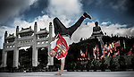B-Boy Lil Han of Taiwan poses for a portrait at the Po Lin Buddhist monastery in the Hong Kong's Lantau island, ahead the Red Bull BC One Cypher on July 01, 2012. Photo by Victor Fraile / The Power of Sport Images