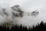 Clouds shroud Washington Dome, Yosemite National Park, California