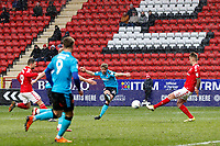Jack Sowerby of Fleetwood Town shoots on goal during the Sky Bet League 1 match between Charlton Athletic and Fleetwood Town at The Valley, London, England on 17 March 2018. Photo by Carlton Myrie.