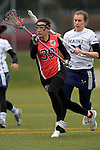 GER - Mainz, Germany, March 20: During the 1. Bundesliga Damen lacrosse match between Mainz Musketeers (white) and SC Frankfurt 1880 (red) on March 20, 2016 at Sportgelaende Dalheimer Weg in Mainz, Germany. Final score 7-12 (HT 3-5). (Photo by Dirk Markgraf / www.265-images.com) *** Local caption *** Viola Herrmann #39 of SC Frankfurt 1880