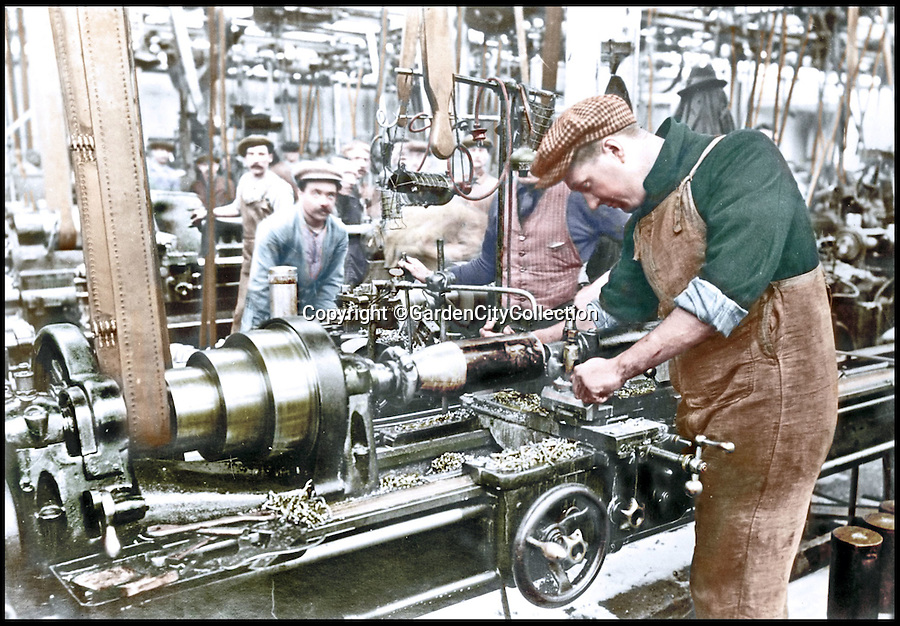 BNPS.co.uk (01202 558833)<br /> Pic: GardenCityCollection/BNPS<br /> <br /> ***Please Use Full Byline***<br /> <br /> A Belgian refugee at work at Kryn &amp; Lahy factory in Letchworth Garden City, 1915. <br /> <br /> Black and white photos of British Tommies preparing for the First World War have been brought to life after they were digitally colourised to mark the 100th anniversary of the start of the conflict.<br /> <br /> Some of the snaps show soldiers in vivid colour getting battle-ready at training camps in the Home Counties in July 1914.<br /> <br /> Others depict the men dressed in their smart green uniforms on parade in a market square on the eve of war and then stood on a train station platform as they head off for France.<br />  <br /> As well as being filled with colour, some of the photos are tinged with poignancy as many of the men pictured never came back.
