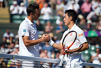 Kei Nishikori of Japan celebrates his victory against  Sergiy Stakhovsky of Ukraine in their Men's Singles Second Round Match today - Nishikori def Stakhovsky 6-4, 6-7, 6-1, 7-6<br /> <br /> Photographer Ashley Western/CameraSport<br /> <br /> Wimbledon Lawn Tennis Championships - Day 3 - Wednesday 5th July 2017 -  All England Lawn Tennis and Croquet Club - Wimbledon - London - England<br /> <br /> World Copyright &not;&uml;&not;&copy; 2017 CameraSport. All rights reserved. 43 Linden Ave. Countesthorpe. Leicester. England. LE8 5PG - Tel: +44 (0) 116 277 4147 - admin@camerasport.com - www.camerasport.com