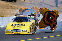 Jul. 27, 2013; Sonoma, CA, USA: NHRA funny car driver Jeff Arend during qualifying for the Sonoma Nationals at Sonoma Raceway. Mandatory Credit: Mark J. Rebilas-