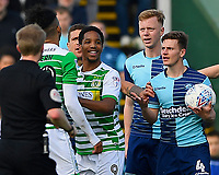 Dominic Gape of Wycombe Wanderers right has words with Oscar Gobern of Yeovil Town left during Yeovil Town vs Wycombe Wanderers, Sky Bet EFL League 2 Football at Huish Park on 14th April 2018
