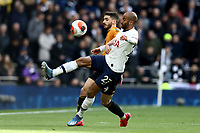 1st March 2020; Tottenham Hotspur Stadium, London, England; English Premier League Football, Tottenham Hotspur versus Wolverhampton Wanderers; Lucas Moura of Tottenham Hotspur competes for the ball with Rúben Vinagre of Wolverhampton Wanderers