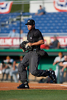 Umpire Justin Juska during a NY-Penn League game between the West Virginia Black Bears  and Batavia Muckdogs on June 26, 2019 at Dwyer Stadium in Batavia, New York.  Batavia defeated West Virginia 4-2.  (Mike Janes/Four Seam Images)
