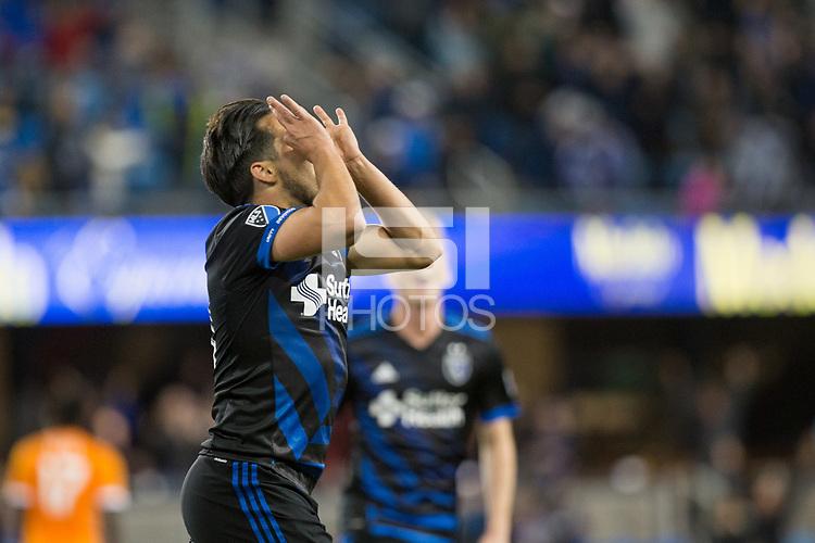 San Jose, CA - Saturday April 14, 2018: Jahmir Hyka celebrates scoring during a Major League Soccer (MLS) match between the San Jose Earthquakes and the Houston Dynamo at Avaya Stadium.