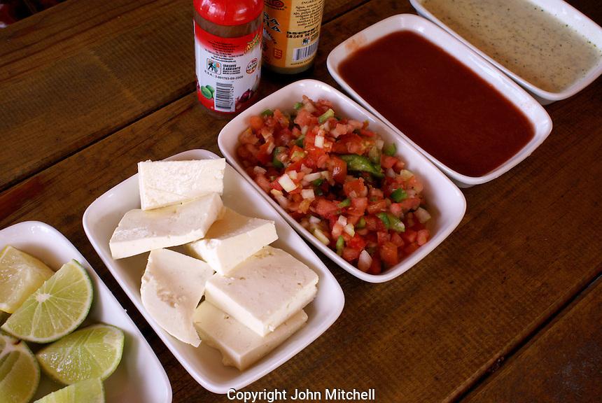 Honduran condiments in a restaurant, Santa Rosa de Copan, Honduras