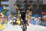 Peter Kennaugh (GBR) Team Sky crosses the finish line for a solo victory on Alpe d'Huez at the end of Stage 7 of the Criterium du Dauphine 2017, running 168km from Aoste to Alpe d'Huez, France. 10th June 2017. <br /> Picture: ASO/A.Broadway | Cyclefile<br /> <br /> <br /> All photos usage must carry mandatory copyright credit (&copy; Cyclefile | ASO/A.Broadway)