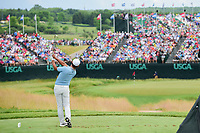 Si Woo Kim (KOR) watches his tee shot on 9 during Saturday's round 3 of the 117th U.S. Open, at Erin Hills, Erin, Wisconsin. 6/17/2017.<br /> Picture: Golffile | Ken Murray<br /> <br /> <br /> All photo usage must carry mandatory copyright credit (&copy; Golffile | Ken Murray)