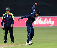 Imran Quayyum of Kent is pumped after bowling Ben Foakes during the Vitality Blast south group game between Kent Spitfires and Surrey at the St Lawrence ground, Canterbury, on Fri July 20, 2018