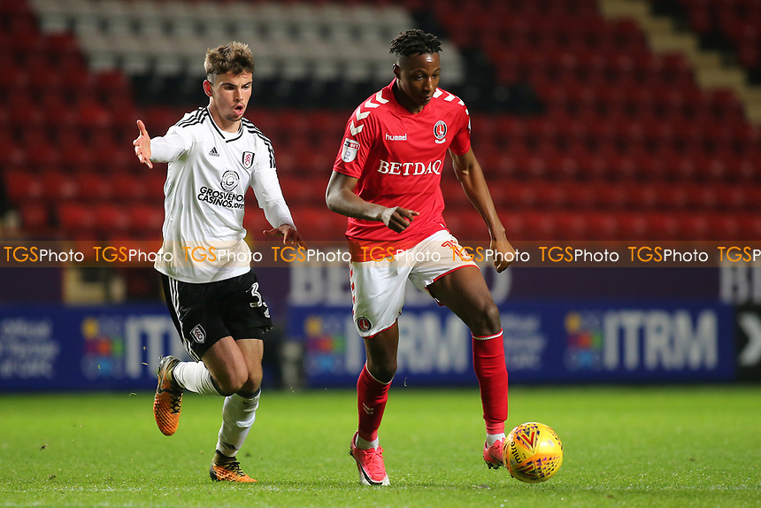 Joe Aribo of Charlton in action as Fulham's Matt O'Riley looks on during Charlton Athletic vs Fulham Under-21, Checkatrade Trophy Football at The Valley on 1st November 2017