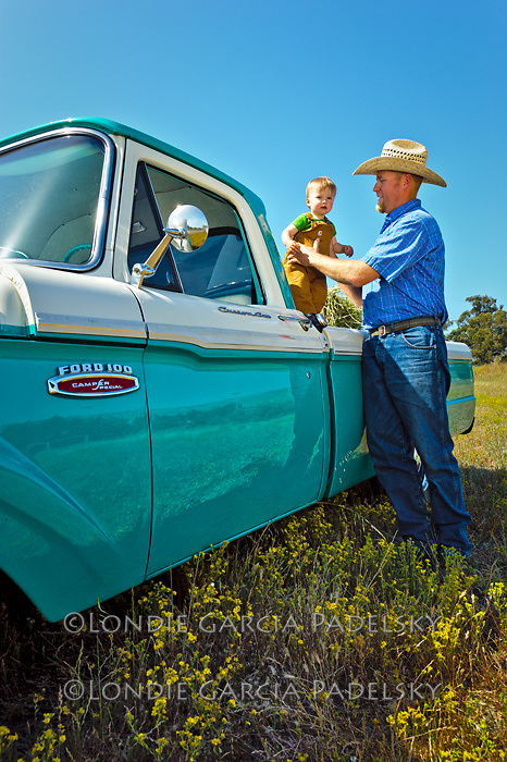 Jason and his son Miller at the 1968 Ford Pickup Truck, San Luis Obispo, California