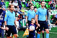 GRONINGEN - Voetbal, FC Groningen - FC Twente, Eredivisie, seizoen 2019-2020, 10-08-2019,arbiter  Christaan Bax met zijn assistenten Richard Brondijk en Don Frijn