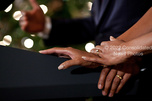 "Dec. 14, 2011.""During one of the Christmas Holiday receptions at the White House, I noticed the First Lady's hands resting on the podium as the President made brief remarks.""  .Mandatory Credit: Pete Souza - White House via CNP"