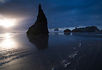 Oregon, South west, Bandon. The Wizards hat at Face Rock Wayside at sunset in autumn.