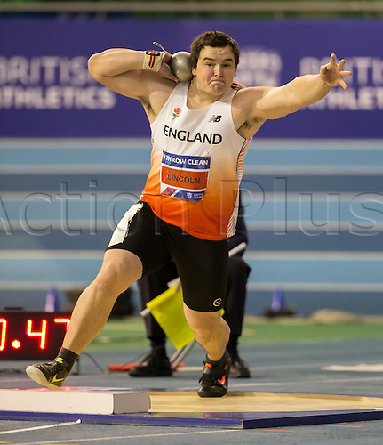 28.02.2016. EIS Sheffield, Sheffield, England. British Indoor Athletics Championships Day Two. Scott Lincoln (York) during the Men's Shot Put final in which he won the British Championship..