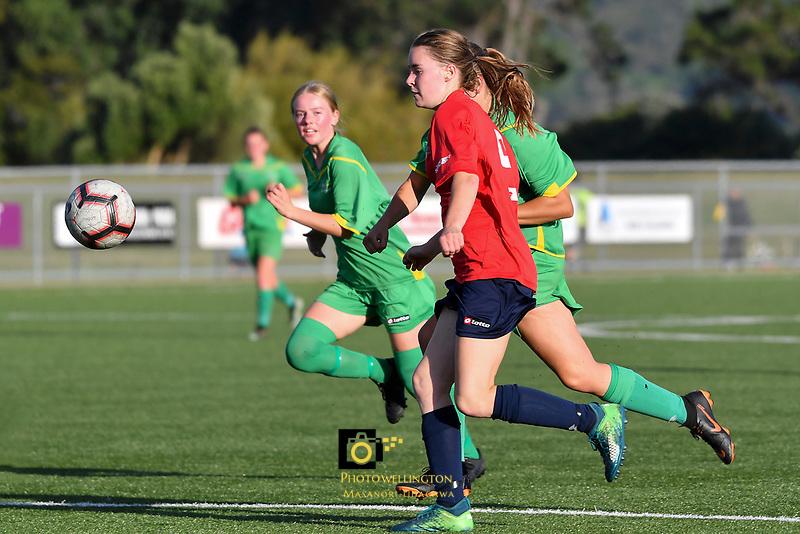 National Age Group Tournament - U16 Girls Central v WaiBOP at Petone Memorial Park, Lower Hutt, New Zealand on Wednesday 12 December 2018. <br /> Photo by Masanori Udagawa. <br /> www.photowellington.photoshelter.com