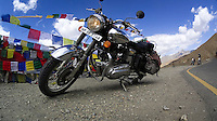 Suzanne Lee's Sony ActionCam mounted on the leg guard of the bike as they ride through some of the World's Highest Motorable roads during their trip Across the Himalayas in the Valley of Ladakh, India, on Royal Enfield motorcycles in June 2014. A resulting 4 minute short film was made, all shot on an arsenal of Sony ActionCam video cameras. Photo by Suzanne Lee/Panos Pictures