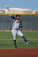 AZL Padres 1 second baseman Luis Paez (1) throws to first base during an Arizona League game against the AZL Indians Red on June 23, 2019 at the Cleveland Indians Training Complex in Goodyear, Arizona. AZL Indians Red defeated the AZL Padres 1 3-2. (Zachary Lucy/Four Seam Images)