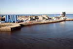 Marine Operation centre, housing, storage tanks, Port harbour, Aberdeen, Scotland