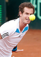 Britain's Andy Murray during  Davis Cup quarter-final doubles tennis match against Italy's Fabio Fognini and Simone Bolelli in Naples April 5, 2014.