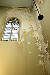 WATERBURY CT. 11 March 2018-031119SV05-Water damage is seen inside the base of the spires at St. Anne Church in Waterbury Monday. They need in need of rebuilding.<br /> Steven Valenti Republican-American