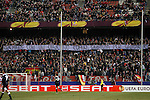 "Atletico de Madrid's supporters carry a banner with the slogan ""enemies with a common target, justice for Gabriele"" during Europa League match.February 23,2012. (ALTERPHOTOS/Acero)"