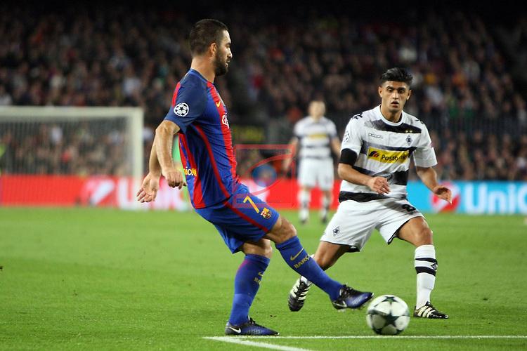 UEFA Champions League 2016/2017 - Matchday 6.<br /> FC Barcelona vs VfL Borussia Monchengladbach: 4-0.<br /> Arda Turan vs Mahmoud Dahoud.