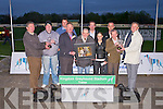 PRESENTATION: Member's of the Kingdom Greyhound Stadium Supports Club committee presenting the Dog, Owner and Bitch of the Year awards at the Kingdom Greyhound stadium on Saturday l-r: Autie Moriarty (KGSSC), John O'Donoghue (Dog of the year), Jonathan Best (KGSSC), Dan Lynch (secretary KGSSC), Jimmy Griffin (Owner of the year), Declan Dowling (sales and operational manager KGS), Katie Wright, Vincent McMahon, Tim Moynihan (Bitch of the year) and Tony Griffin (treasurer KGSSC).