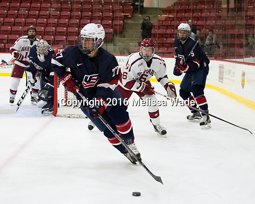 David Farrance (NTDP - 27), Ryan Donato (Harvard - 16), Nate Knoepke (NTDP - 5) - The Harvard University Crimson defeated the US National Team Development Program's Under-18 team 5-2 on Saturday, October 8, 2016, at the Bright-Landry Hockey Center in Boston, Massachusetts.