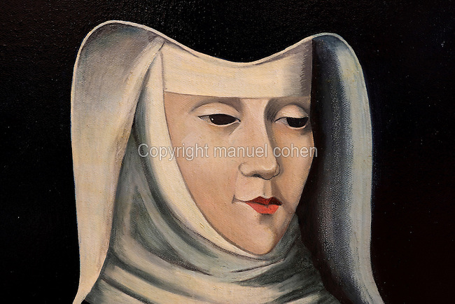Portrait of St Agnes of Jesus, 1602-34, 18th century, by an unknown artist, in the Monastere Sainte Catherine de Sienne, or Monastery of St Catherine of Siena, Langeac, Haute Loire, France. St Agnes of Jesus, or St Agnes of Langeac, 1602-34, founded the monastery in 1623, and was prioress from 1627. This painting is a copy of the 18th century painting located in the chapel of the Ecole Saint Joseph (St Joseph's school) at Le Puy en Velay. Picture by Manuel Cohen