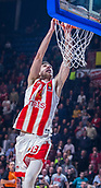 22nd March 2018, Aleksandar Nikolic Hall, Belgrade, Serbia; Turkish Airlines Euroleague Basketball, Crvena Zvezda mts Belgrade versus Fenerbahce Dogus Istanbul; Guard Ognjen Dobric of Crvena Zvezda mts Belgrade dunks on the basket
