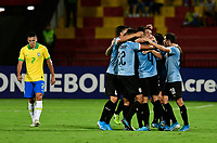 BUCARAMANGA - COLOMBIA, 06-02-2020: Manuel Ugarte (#5) de Uruguay celebra después de anotar el primer gol de su equipo durante partido entre Brasil U-23 Y Uruguay U-23 por el cuadrangular final como parte del torneo CONMEBOL Preolímpico Colombia 2020 jugado en el estadio Alfonso Lopez en Bucaramanga, Colombia. / Manuel Ugarte¨(#5) of Uruguay celebrates after scoring the first goal of his team during match between Brazil U-23 and Uruguay U-23 for the final quadrangular as part of CONMEBOL Pre-Olympic Tournament Colombia 2020 played at Alfonso Lopez stadium in Bucaramanga, Colombia. Photo: VizzorImage / Julian Medina / Cont