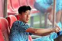 Son Heung- min of Tottenham during Girona FC vs Tottenham Hotspur, Friendly Match Football at Estadi Montilivi on 4th August 2018