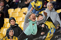 Hurricanes Fan during the Super Rugby - Hurricanes v Lions at Westpac Stadium, Wellington, New Zealand on Saturday 5 May 2018.<br /> Photo by Masanori Udagawa. <br /> www.photowellington.photoshelter.com