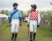 Jacob Roberts, left, and Roddy Mackenzie stride into the paddock before the James Maloney Maiden Hurdle, a race that the tandem would duel to the wire.