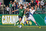 24 September 2016: Dartmouth College Big Green Midfielder/Forward Matt Greer, a Junior from Chadds Ford, PA, battles University of Vermont Catamount Defender Loftur Eriksson, a Graduate from Saudarkrokur, Iceland, at Virtue Field in Burlington, Vermont. The teams played to an overtime 1-1 tie in front of an Alumni Weekend crowd of 1,710 fans. Mandatory Credit: Ed Wolfstein Photo *** RAW (NEF) Image File Available ***