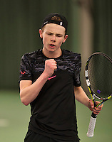 Rotterdam, The Netherlands, March 20, 2016,  TV Victoria, NOJK 14/18 years, Jesper de Jong  (NED) teacts<br /> Photo: Tennisimages/Henk Koster