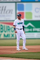 Lynchburg Hillcats third baseman Alexis Pantoja (6) during the first game of a doubleheader against the Potomac Nationals on June 9, 2018 at Calvin Falwell Field in Lynchburg, Virginia.  Lynchburg defeated Potomac 5-3.  (Mike Janes/Four Seam Images)